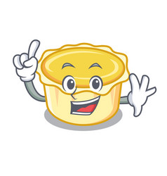 Finger egg tart mascot cartoon vector