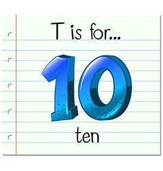 Flashcard letter T is for ten vector