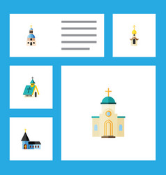 flat icon christian set of structure church vector image