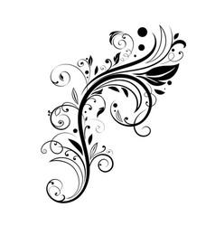 Floral decorative element black branch vector