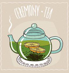 Glass teapot with green tea with lemon vector