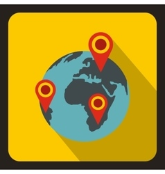 Globe earth with pointer marks icon flat style vector