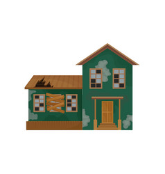 Green house with peeling paint broken roof and vector
