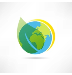 green leaf and earth icon vector image