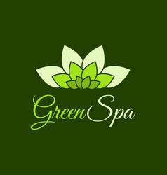 green spa leaf flower logo design template vector image