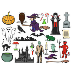 halloween icons ghost witch zombie vampire vector image