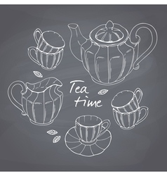 Hand drawn tea porcelain service set Chalkboard vector image