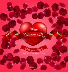 happy valentines day on red background and red he vector image