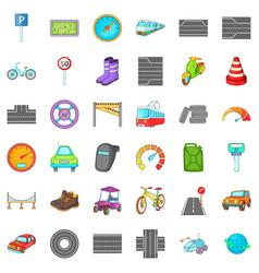 Hard traffic icons set cartoon style vector