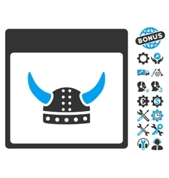 Horned Ancient Helmet Calendar Page Icon vector image