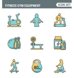 Icons line set premium quality of fitness gym vector image