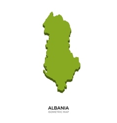 Isometric map of albania detailed vector