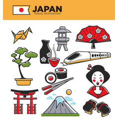 Japan travel famous landmarks and japanese culture vector