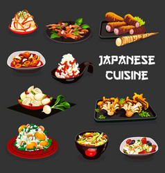 Japanese food meat vegetables and seafood vector
