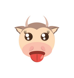 Kawaii face cow animal fun vector