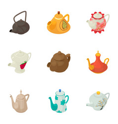 Kettle icons set cartoon style vector