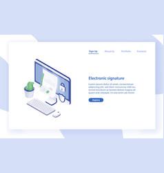 Landing page template with desktop computer paper vector