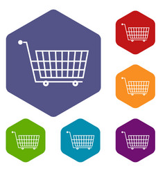 Large empty supermarket cart icons set hexagon vector