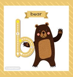Letter b lowercase tracing standing bear raising vector