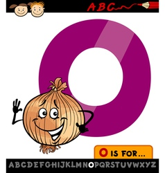 letter o with onion cartoon vector image