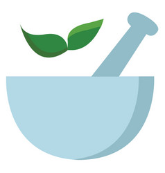 light blue mortar with two green leaves on white vector image
