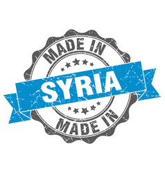 Made in syria round seal vector