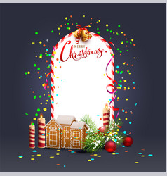 merry christmas template frame greeting card vector image