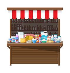 Milk street market milk store stall vector