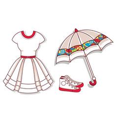 mockup white dress sneakers umbrella vector image