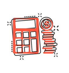 money calculation icon in comic style budget vector image