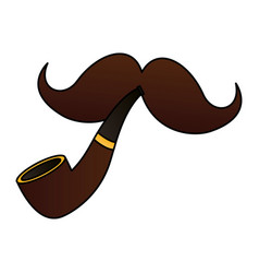 moustache and tobacco pipe vector image