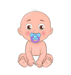 Newborn boy toddler pacifier in mouth and diapers vector