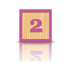 Number 2 wooden alphabet block vector