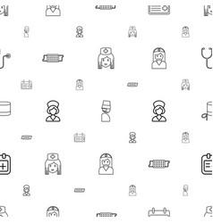 Nurse icons pattern seamless white background vector