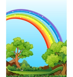 Rainbow and field vector image