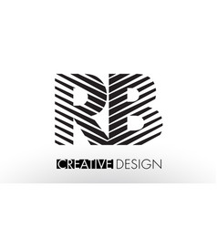 Rb r b lines letter design with creative elegant vector