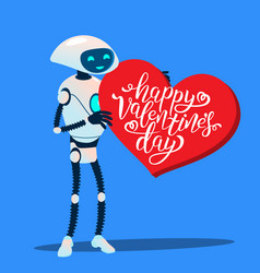 robot with huge red heart happy valentines day vector image