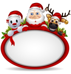 Santa claus deer and snowman vector