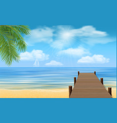 Sea beach and wooden jetty vector