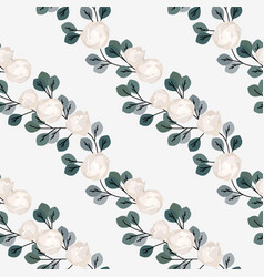 seamless pattern roses with leaves vector image