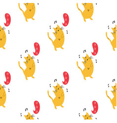 Seamless pattern with cute dancing kittens cats vector
