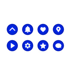 Set icons on a blue gradient circle shape vector