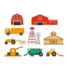 Set images farming vehicles and buildings vector
