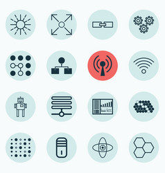 Set of 16 robotics icons includes branching vector