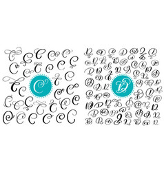 set of hand drawn calligraphy letters c and vector image