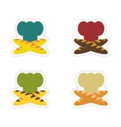 Set of paper stickers on white background chef hat vector