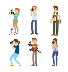 set of smart professional photographer with his vector image