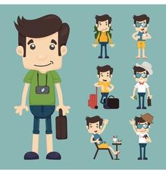 Set of traveler people eps10 format vector