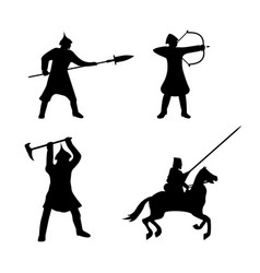 Set of warriors silhouette on white background vector