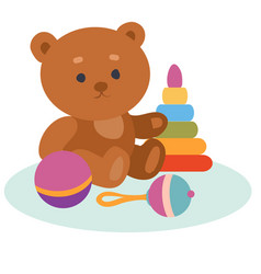 Set toys from a bear a pyramid a rattle and a vector